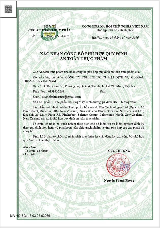 Chứng nhận an toàn thực phẩm của Bk18 tại Việt Nam