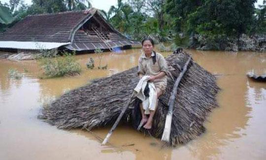 Ngồi trên nóc nhà tránh nước lụt