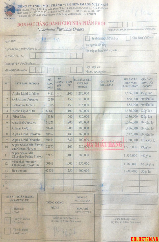 giá sản phẩm của công ty New Image Việt Nam